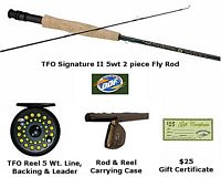 TFO 5 Wt. Fly Fishing Outfit - Rod, Reel, Case, Backing, Line, Leader, $25 Gift Cert